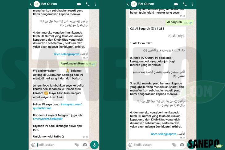 cara menggunakan Bot Al-Qur'an WhatsApp