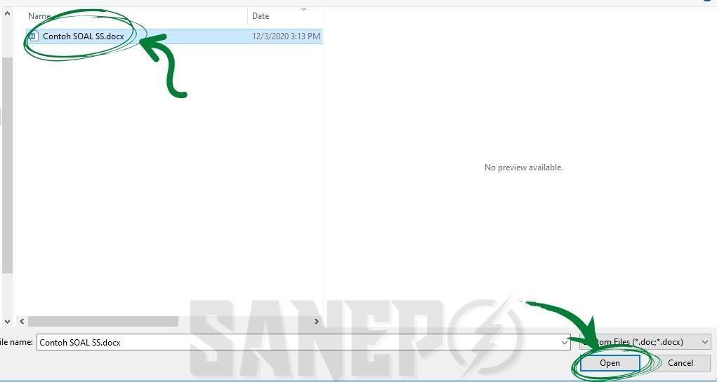 Pilih File untuk mengubah word ke PDF