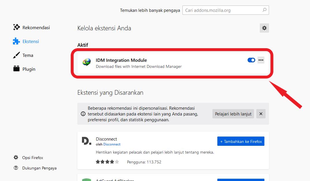 Cara Mengaktifkan IDM di Mozilla