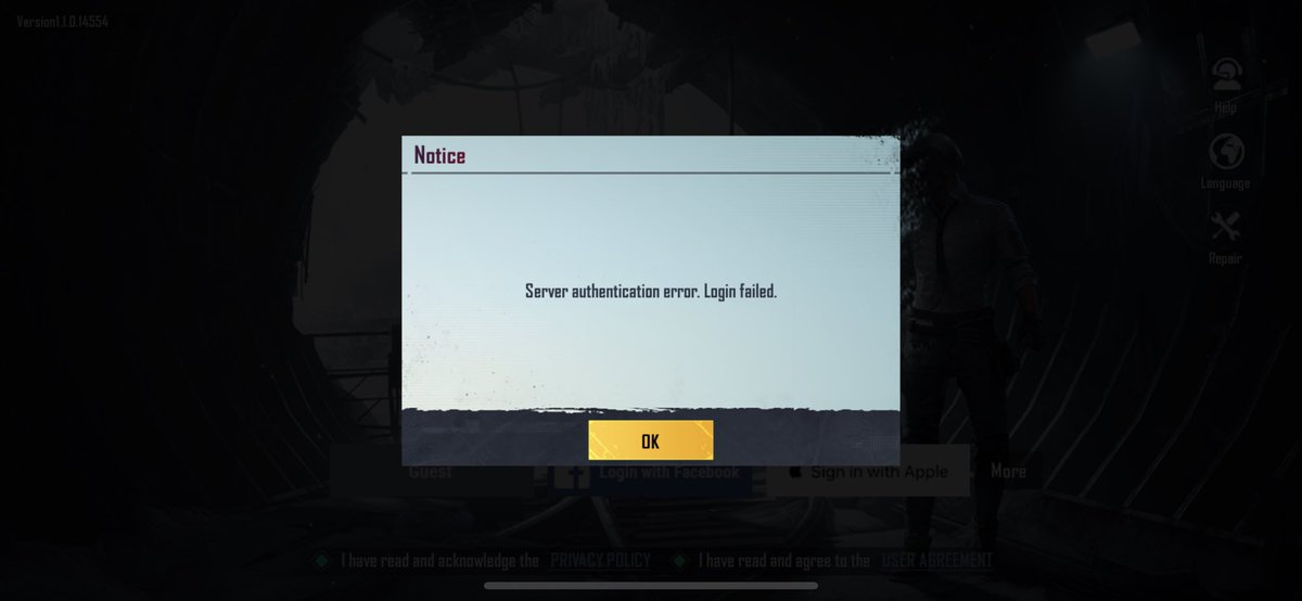 Server Authentication Error Login Failed PUBG Mobile