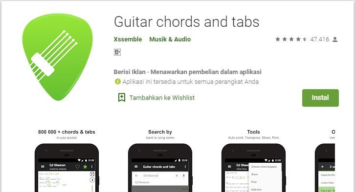 Aplikasi Kunci Gitar Favorit