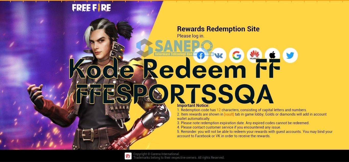 Kode Redeem ffesportssqa FF