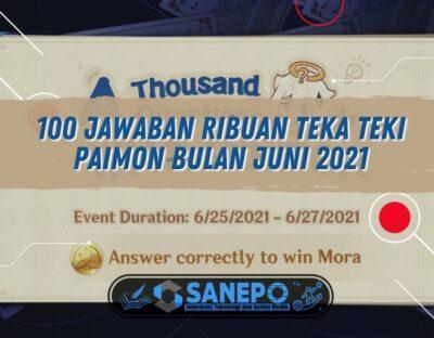 100 Jawaban Ribuan Teka Teki Paimon Bulan Juni 2021