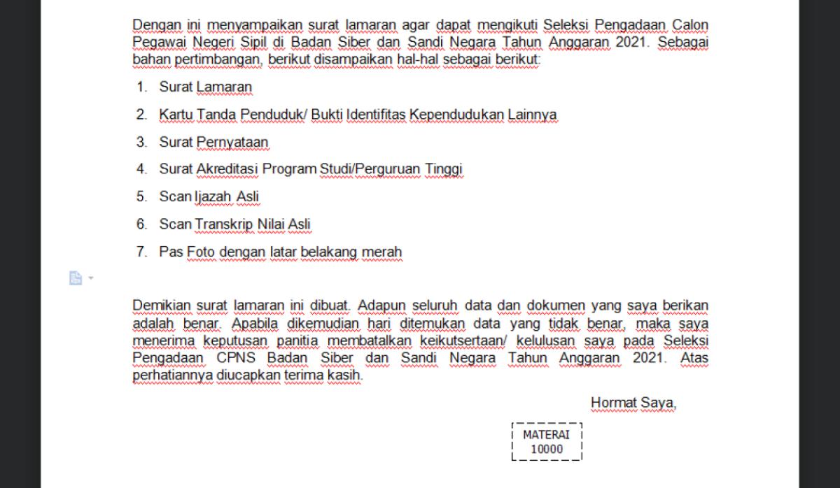 Cara Download Format Surat Lamaran Cpns 2021 Bssn